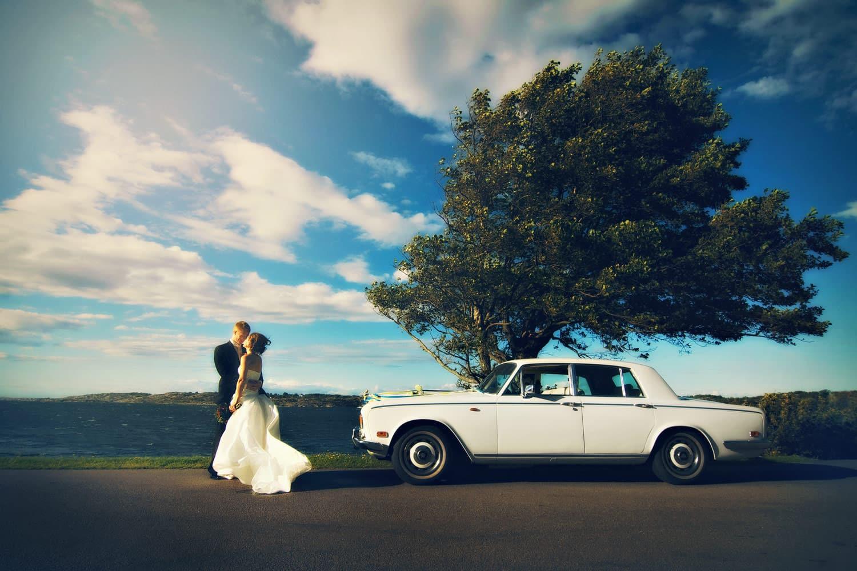 Wedding Couple At The Swedish Sea Coast On A Stormy Sunny Day